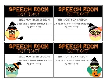 October Speech Exit Tickets