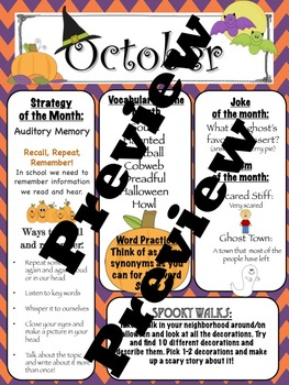 October Speech Language Therapy Newsletter Outline