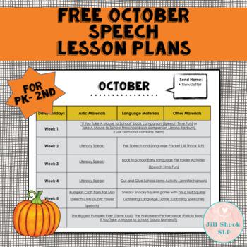 October Speech Lesson Plans PK-2nd  (FREE)