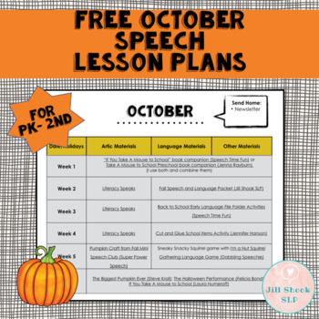 FREE October Speech Lesson Plans PK-2nd