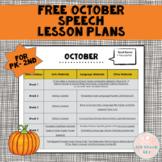 FREE October Speech Lesson Plans PK-2nd