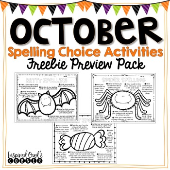 October Spelling Choice Activities FREEBIE Preview Pack