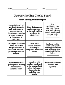 October Spelling Choice Board