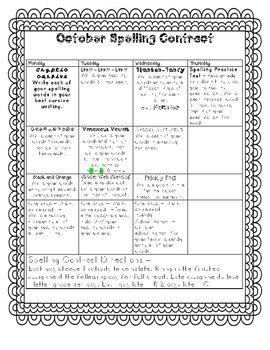 October Spelling Contract