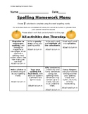October Spelling Homework Menu