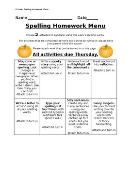 October Spelling Homework Menu