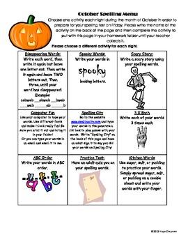 October Spelling Menu