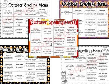 October Spelling Homework Choices