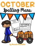 October Spelling Menu