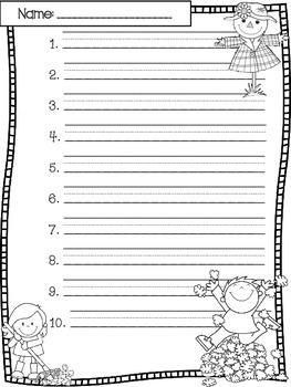 October Spelling Test Templates