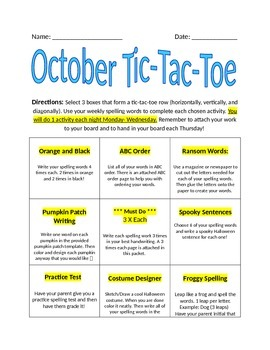 October Spelling Tic-Tac-Toe Assignment Packet