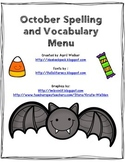 October Spelling and Vocabulary Menu - Freebie