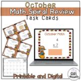 October Spiral Review Math Task Cards with Google Slides