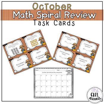 October Spiral Review Math Task Cards