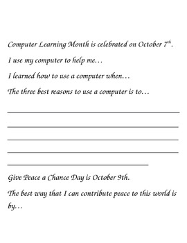 October Story Starters: Writing Ideas for Bell Work/Daily Journal Writing