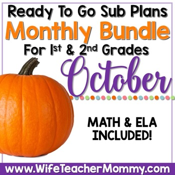 October Sub Plans 1st 2nd Grade Math & ELA Mini Bundle. Halloween Activities