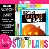 October Sub Plans for 3rd-4th Grade: Ready-to-go lesson pl