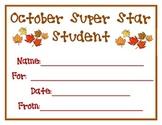 October Super Star Student Award