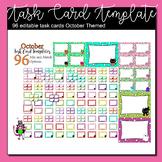 October Task Card Template | 96 editable slides | Cats, pumpkins, ghosts