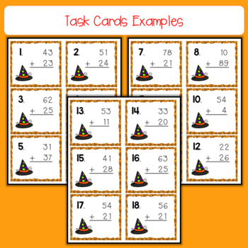 October Task Cards - 2 Digit Addition Without Regrouping