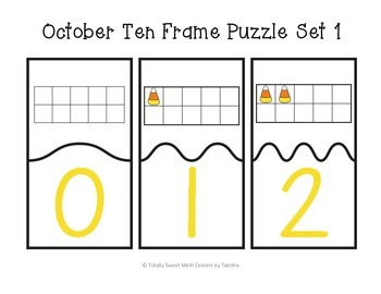 October Ten Frame Self-Checking Puzzles