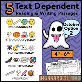 October Text Dependent Reading - Text Dependent Writing Prompts (Option 2)
