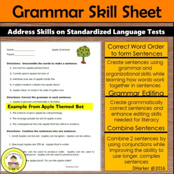 October Speech Therapy Theme-Based Vocabulary and Grammar Worksheets