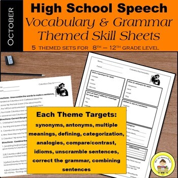 October Speech Therapy Theme-Based Vocabulary and Grammar