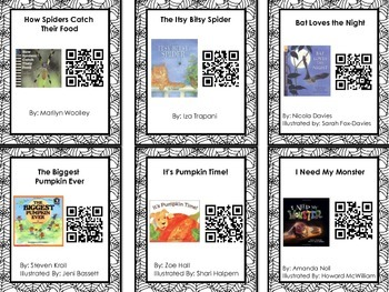October Theme (Halloween, etc.) Listen to Reading QR Code Cards