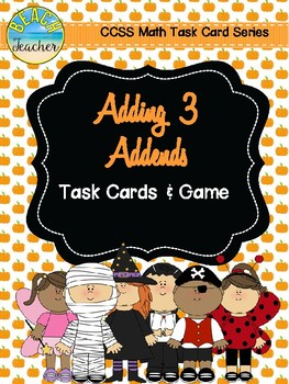 October Themed Adding 3 Addends Task Cards & Game
