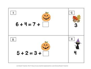 October Themed Balancing 1-Digit Equations Math Center 1.OA.7
