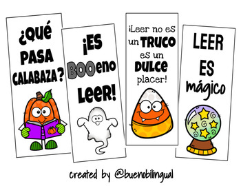 October Themed Bookmarks in Spanish