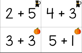 October Themed Equivalent Equation Addition Matching Game