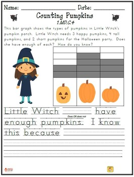 October-Themed First Grade Math Extended Response Bundle