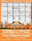 October Themed Informational Text Passages for Close Reading and Homework