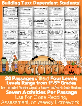 October Themed Informational Text Passages for Close Readi
