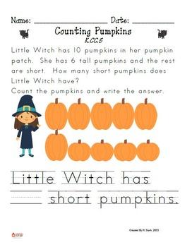 October-Themed Kindergarten Math Extended Response Bundle