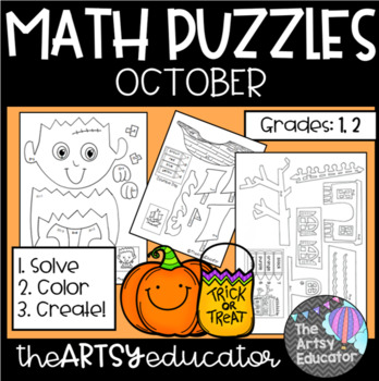 October Themed Math Puzzles - Color by Sum and Difference