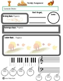 October Themed Piano Lesson Assignment Sheet