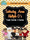 October Themed Subtracting Across Mutiple 0's Task Cards & Game 4.NBT.4