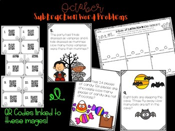 October Themed Subtraction Word Problems - QR Code Hunt