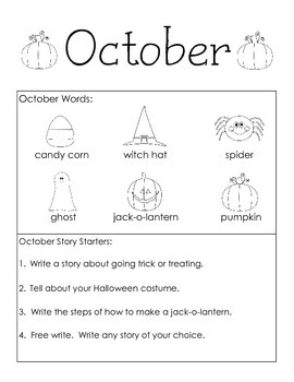 October Themed Take Home or Classroom Writing Journal
