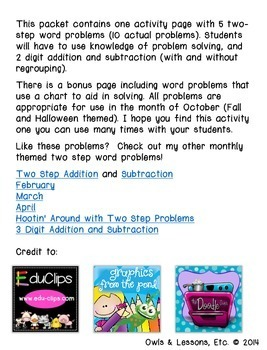 October Themed Two Step Word Problems