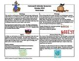October Third Grade Homework Calendar