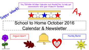 October Traditional School Calendar and Newsletter