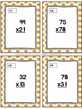October Two-Digit Multiplication Task Cards & Game 4.NBT.5