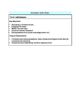 October Unit Plan for Kindergarten/Pre K