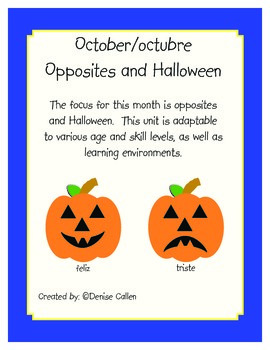 October Unit:  Spanish Opposites and Halloween