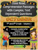 October V 2 - 7/8th Grade Common Core Close Read Text Dependent Complex Quest.