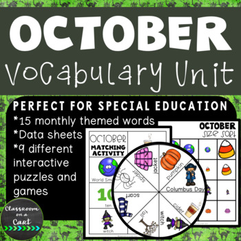 October Vocabulary Unit for Special Education